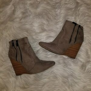 Taupe Wedged Booties